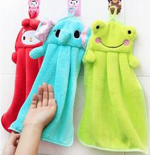 Free Shipping sweet candy color super soft coral velvet cartoon animals hand towel kitchen towel 4 styles(China)
