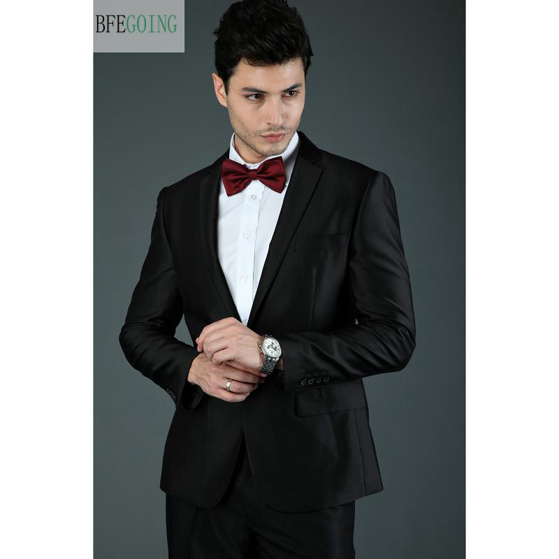 Black  Regular  Bridegroom Tuxedos Single Breasted  Groom Suit+ Vest +Pants +Tie  For Wedding /Evening Party