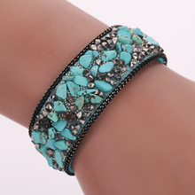 pulseras mujer moda 2017 Fashion Women Leather Bracelet Bangle with Stones Bracelets Female Jewelry Accessories Cheap Price(China)