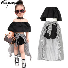 Girls Clothes Set Baby Girl's 3 Pcs Clothing Suit Cute Kids Summer Black Shirt Pants Stripe Cloak For Children Outfit & Necklace(China)