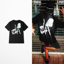 Ulzzang Original Tide Brand 3d Finger Print Funny T Shirt Men Hip Hop Skateboard Fashion Vintage T-shirt Casual Wear Top Tee(China)