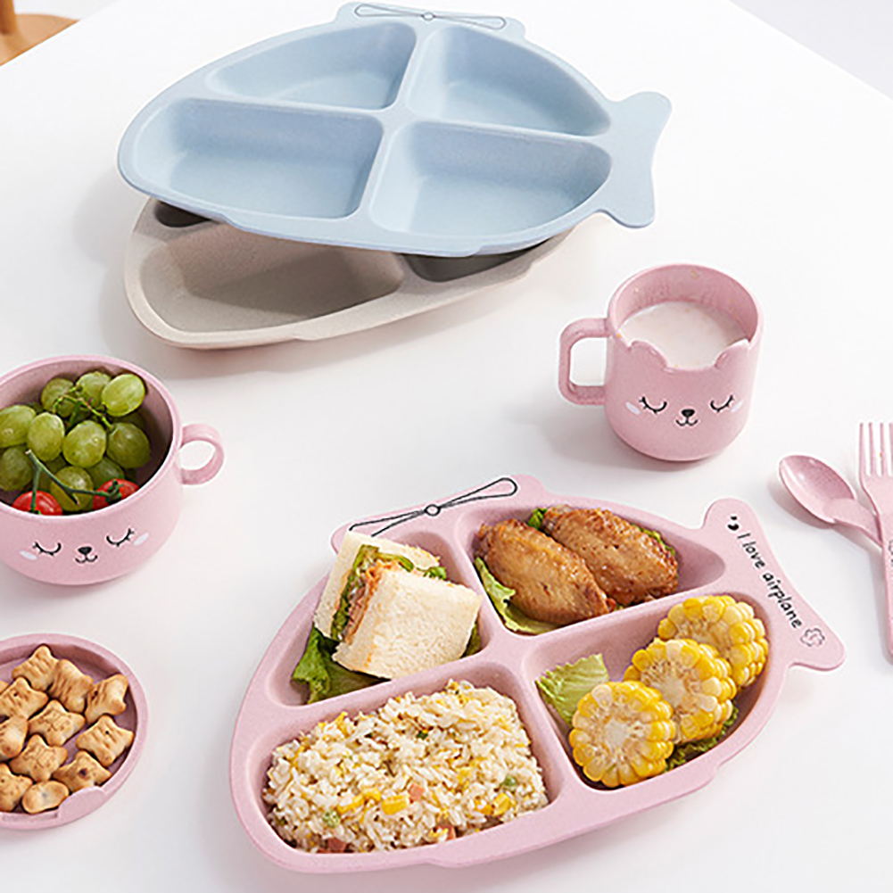 Household Wheat Fiber Childrens Tableware Kit-e791 Cute Cartoon Split Grille Fork And Spoon Assembly Solid Feeding