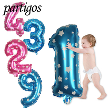 1pcs/lot 30 Inch Blue/pink number heart star printed inflatable Balloons happy birthday Wedding Party new year decoration globos(China)