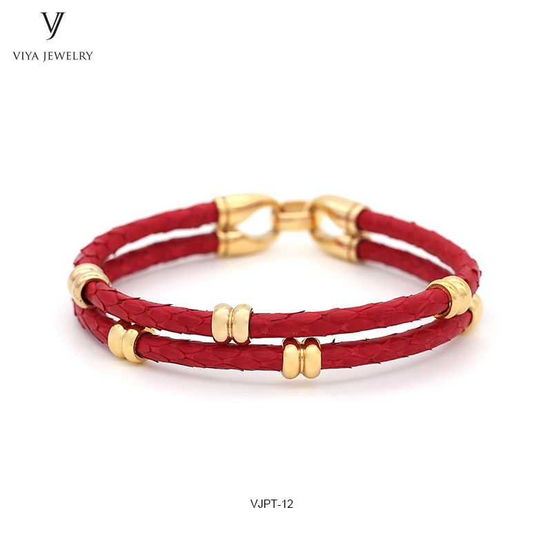 GENUINE PYTHON LEATHER MEN BRACELET WITH GOLD COLOR STAINLESS STEEL BEADS CLASP,BEST GIFT FOR MATCH UP WATCH (7)