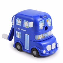 Novelty Bus Shaped Manual Pencil Sharpener Desktop Sharpening Tools for Home&Office& School Use ,Red/Blue/Yellow