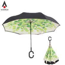 Wulekue Green shade Tree Windproof UV Protection Big Straight Umbrella for Car Rain Outdoor With C-Shaped Handle
