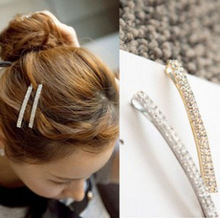 2017 Direct Selling Unisex Linen Simple Fresh Hot Shiny Double Diamond Small Hairpin Korean Wholesale Shop Freeshipping