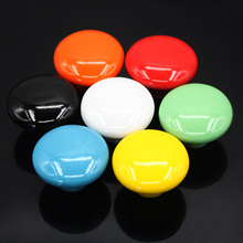 New Colorful Ceramic Door Handles Round Cabinet Knobs Cupboard Drawer Wardrobe Pull Knob Furniture Handle Knob Candy Color(China)