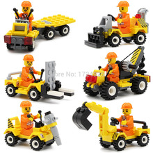 6pcs City Construction Team Excavator Crane Building Block Bulldozer Forklift Sets Models Kids Educational Toys