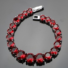 925 Sterling Silver 18CM Irregular Round Handmade Dark Red Gems Bracelets Sliver 925 Jewelry For Women Free Gift Box(Hong Kong,China)