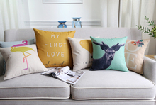 Flower Flamingo Cushion Covers Deer Elk Birds Balloon Pillow Cases Thick Linen Cotton Quality Bedroom Sofa Decoration