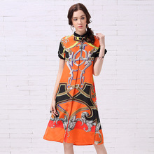 New 2017 spring summer fashion chain print women 100% silk dress short sleeve mid calf colorful casual shft dresses orange
