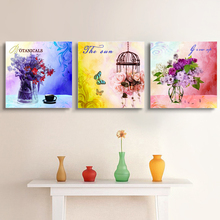 3 Piece Vintage Painting Canvas Prints Romantic Flower Baskets Canvas Art Home Classicism Decor Room Hall Wall Pictures No Frame