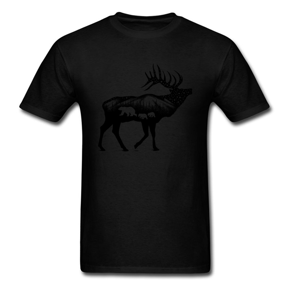 ELK 100% Coon Fabric Tshirts for Boys Short Sleeve Cool Tops T Shirt Graphic Summer O Neck T-Shirt Normal Wholesale ELK black