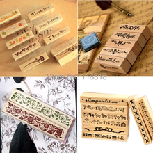 Special offers,(24 Styles) DIY Scrapbooking Wood Stamps Vintage Wooden Box Rubber Craft Ink Pad Flower Stamp carimbos
