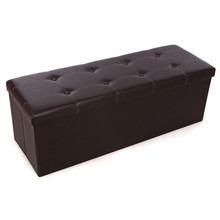 Faux Leather Stool Button Tufted Rectangle Storage Footstool Large Size Living Room Chair HOT SALE(China)
