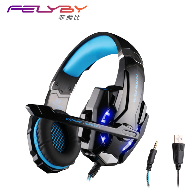Brand New G9000 3.5mm+USB Gaming Headphone Headset  Microphone Cool LED Laptop Tablet PC Mobile Phone PS4 game headphones<br>