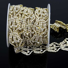 1yds Gold Crystal Cake Banding Rhinestone Wedding Topper Bouquet Jewelry Freeshipping(China)
