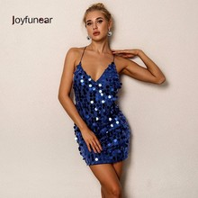 Joyfunear 2017 Winter Autumn Blue Sequin Dress For Christmas Party Deep V Neck Backless Sexy Bandage Dresses Women Clubwear Blue(China)