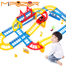 MIPOZOR DIY Variety 3D Electric Rail Speed Car Train Model Color Track Racing Car Fun Assemble Toy Birthday Gift For Kids Boys(China)