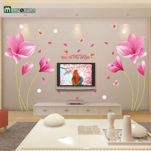 Maruoxuan Hot Style The Romantic Pink Orchid Stickers Sitting Room Sofa Tv Background Decoration Can Remove The Wall Stickers(China)