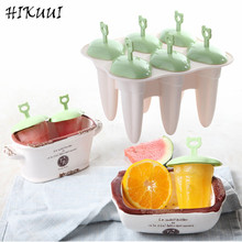 6pcs Ice Cream Popsicle Molds Tubs Candy Colors Cooking Tools Reusable DIY Frozen Ice Cream Pop Baking Moulds With Cover Tray