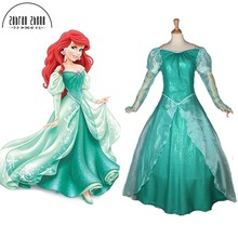 New Style The Little Mermaid Ariel Green Dress Princess Cosplay Costume Halloween Costumes Custom-made dress Free Shipping