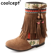 Women New Fashion Spring Autumn Flat Hidden Heels Beaded Tassel Ladies Boots National Trend Shoes Footwear Size 34-39