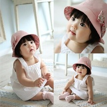 Puseky 2017 New Flower Print Cotton Baby Summer Hat Kids Girls Floral Bowknot Cap Sun Bucket Hats Double Sided Can Wear gorro