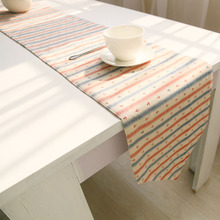 Korean style Striped table runner Cotton/Linen 6 size table runners coffee teahouse table cover flags party home caminho de mesa