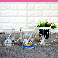 Moomin lovely glasses cup security Finland fairy tale elves healthy with cover spoon Hot sale 450ml(China)