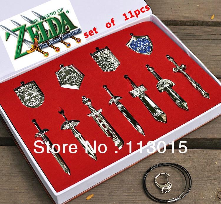 11pcs/set The Legend of Zelda Toys Weapons Model Sets Link Swords Keychains Necklace Figurine<br><br>Aliexpress