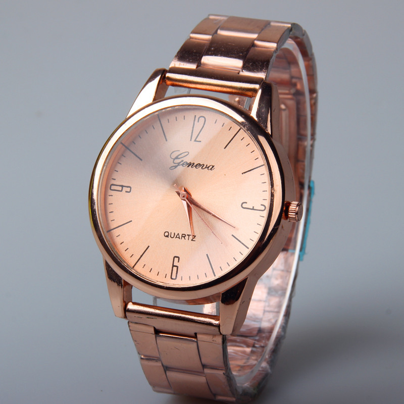 Fashion Watch Women Top Brand Geneva Watch Luxury quality Rose Gold Watches men Stainless Steel High Quality Quartz WristWatches<br><br>Aliexpress