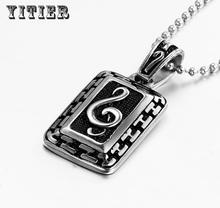 New Mens Shaped Musical Notes Accessories Bohemian Jewelry Pendants Statement Choker Necklaces Stainless Steel NIce Chain PN-220