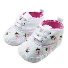Prewalkers Baby Girl's White Embroidered Flower Soft Cotton Crib Shoes(China)