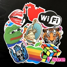 Hot style Sad Pepe Diamond Paris laptop Notebook skateboard trolley case backpack Tables book PVC waterproof Car sticker 50