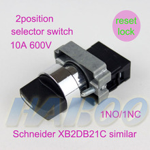 5pcs/lot dia.22mm  2position selector switch reset /lock manufacture direct sales push button selector Switch 10A 600V