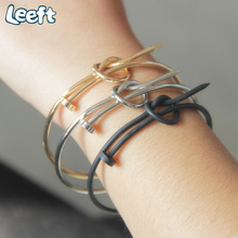 2017 New Unisex Fashion Jewelry European Nail Knot Bracelet Minimalist Cuff Bracelets Chain Bangle for Women Pulseiras A0166(China)