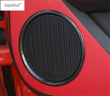 ABS ! Accessories For Ford Mustang 2015 2016 2017 Carbon Fiber Style Car Door Stereo Speaker Audio Sound Ring Cover Kit Trim