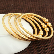 2017 New Dubai Gold Baby Bangle Jewelry  For Boys Girls18K Gold Color Ethiopian Kids Bangles Bracelet Jewelry