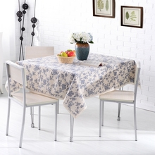 Tablecloths Cotton & Linen Table Cloth spring flowers Printed Rectangular Table Cover Lace Edge Tablecloth(China)