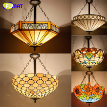 "FUMAT Tiffany Pendant Lamp Retro Style 20"" Glass Suspension Lights Sun Flower Baroque Restaurant Kitchen Lamp Hotel Project"
