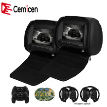 Cemicen 2PCS 7 Inch Car Headrest Monitor DVD Video Player 800x480 Zipper Cover TFT LCD Screen Support IR FM USB SD Speaker Game(China)