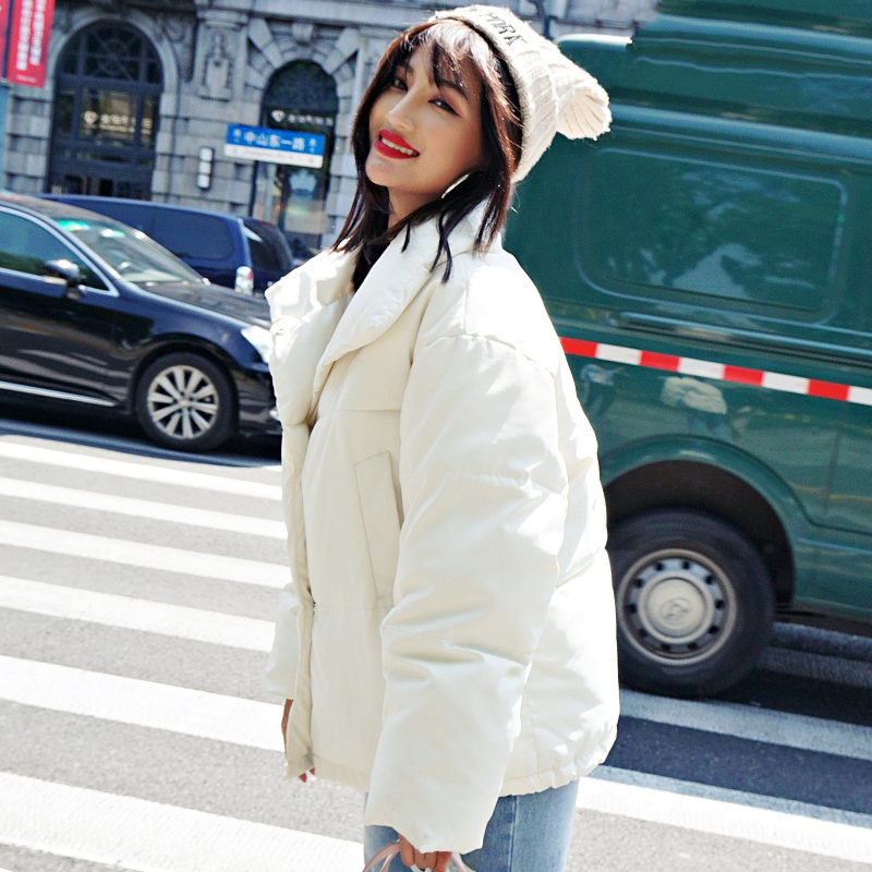 Korean Style 19 Winter Jacket Women Stand Collar Solid Black White Female Down Coat Loose Oversized Womens Short Parka 24