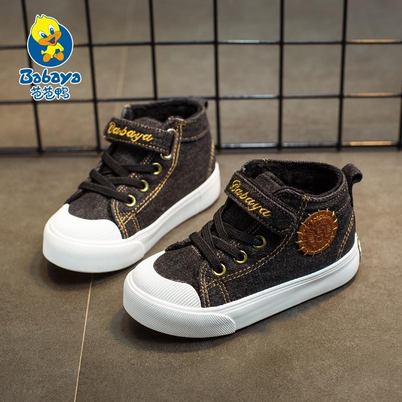 2017 New Arrival Autumn Winter Shoes Kids Children child boy girl Sneakers high top Shoes Cotton ankle Booties Denim Warm velvet<br>