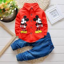 baby boys spring clothes kids cartoon pattern sport t shirt+pants 2pcs causal suit children jeans clothing set