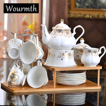 Wourmth Gold-rimmed 15 Heads Bone Ceramic Coffee Set Continental Cup and Saucer Porcelain Teapot Luxury Gifts