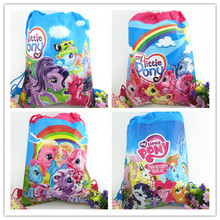 2pcs My little pony sided non-woven Drawstring small Ma Baoli trade Drawstring bags children shoulder bags pencil bags