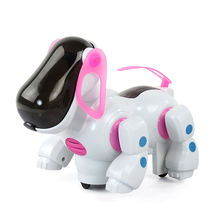 2016 New Lovely Adorable Robotic Intelligent Electronic Walking Dog Children Friend Partner Toy With Music Light For Kids Gifts(China)