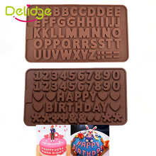 Delidge1 pc 3D Double 26 Letters Shape Or 0-9 Numers Chocolate Molds Happy Birthday Words Cake Molds Pudding Dessert Decoration
